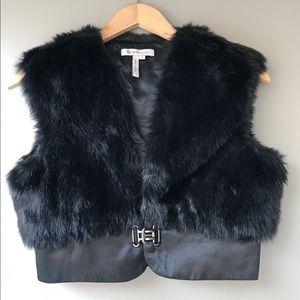 BCBGeneration Crop Black Fur Vest